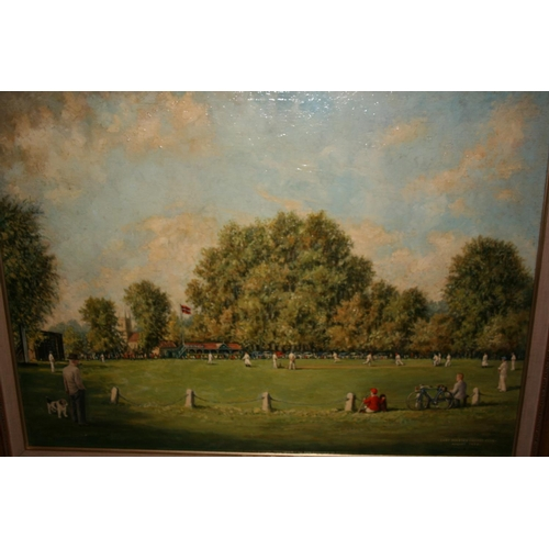 1354 - Norman Olley, oil on canvas laid onto board, East Molsey Cricket Club, August 1954, gilt framed, 21i...