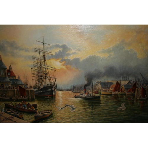 1355 - Norman Olley, oil on canvas, harbour scene with various shipping, inscribed verso, gilt framed, date...