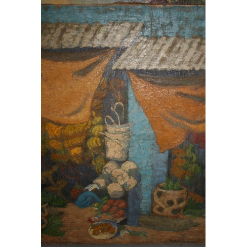 1361 - Mary Angela Bateman, oil on canvas, market scene with figure and fruit, signed, unframed, 30ins x 25...