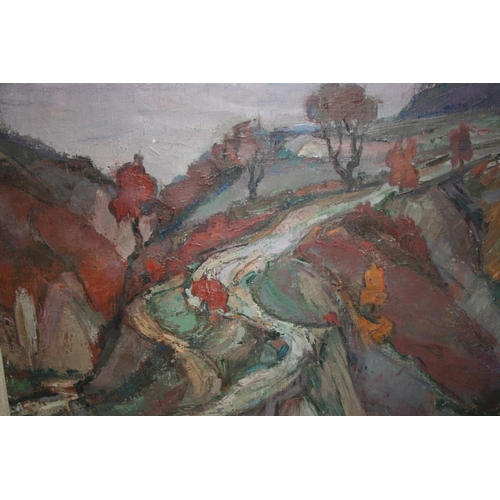 1362 - 20th Century oil on canvas, Scottish colourist stylised landscape, indistinctly signed, framed, 19in...
