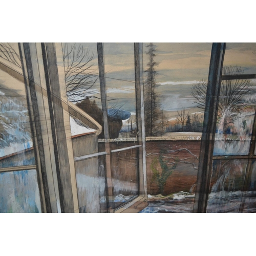 1363 - Anthony Rossiter, large mixed media on paper applied to board, view from Beryl Cottage overlooking W...