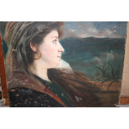 1364 - Late 19th Century French Art Nouveau style head and shoulder portrait of a lady in a landscape, sign...