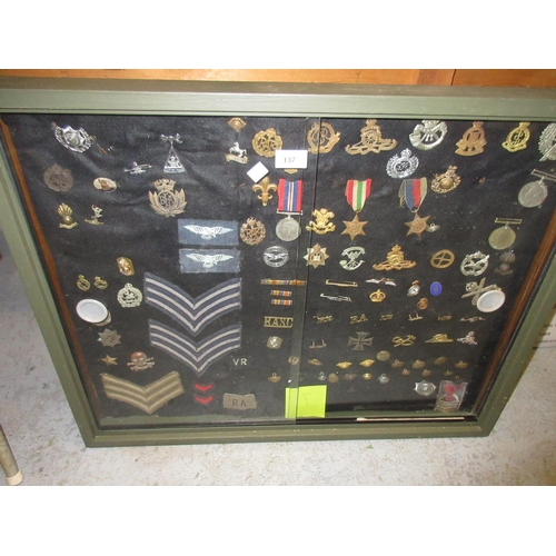 137 - Green painted box display frame containing a collection of various cloth military badges, medals and...