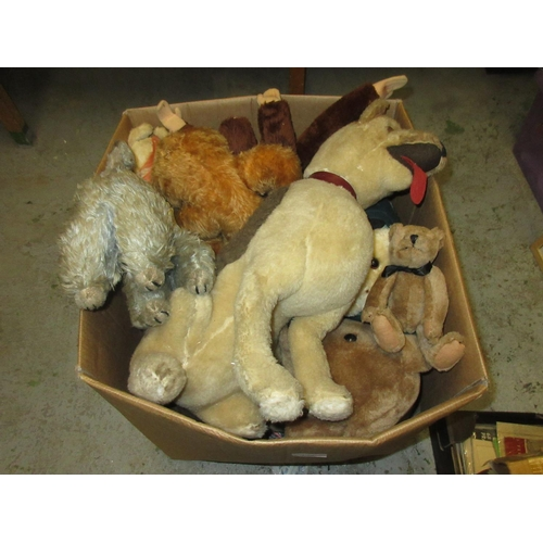 142 - Large box containing a quantity of various soft toys and teddy bears...