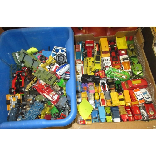 143 - Two boxes containing a quantity of various diecast model toy vehicles...