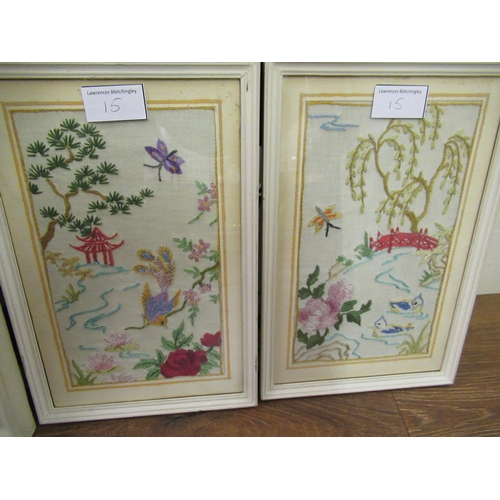 15 - Floral silk and gold thread needlework panel housed in a firescreen together with six woolwork pictu...