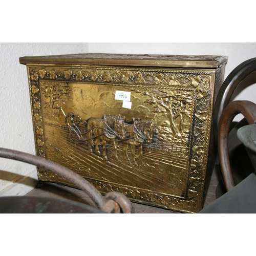 1719 - Brass covered and embossed coal box...