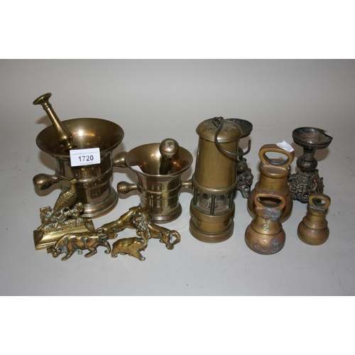 1720 - Two brass pestles and mortar together with a miner's lamp and other metalware...