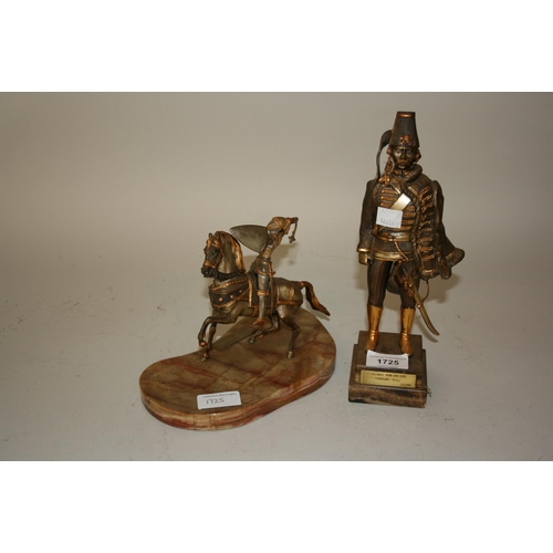 1725 - Giuseppe Vesari, gilded and patinated bronze figure of a Prussian warrior, on double stepped plinth ...