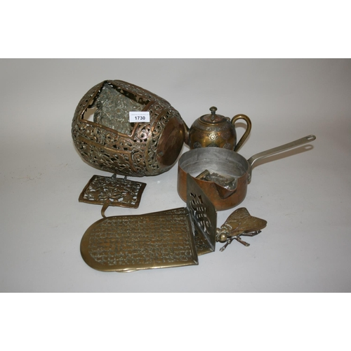 1730 - Brass lantern (at fault) and a small quantity of various other brassware...