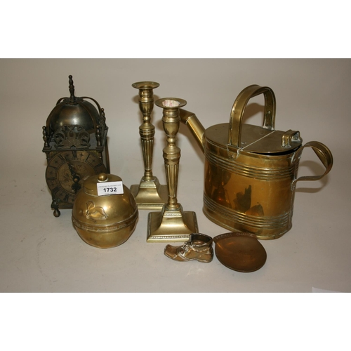 1732 - Reproduction metal lantern clock, brass watering can, 1924 Great Exhibition tea caddy and other meta...