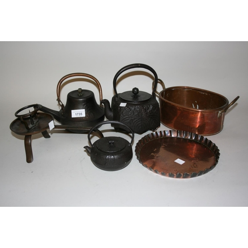1735 - Group of three Japanese cast iron teapots together with a bronze pricket candlestick and two copper ...