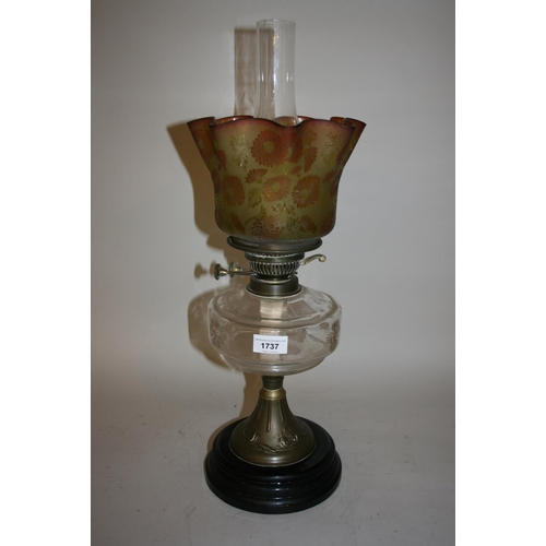 1737 - Victorian oil lamp with glass shade and chimney...