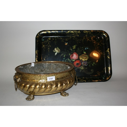 1741 - 19th Century oval and embossed brass jardiniere on claw supports, together with a rectangular floral...