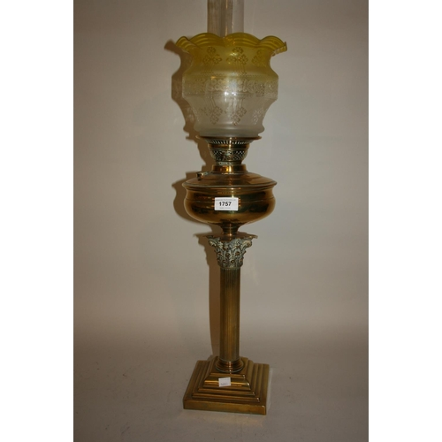 1757 - Victorian brass Corinthian column oil lamp with glass shade and chimney...