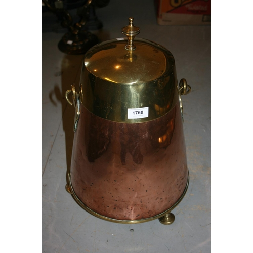 1760 - 19th Century Dutch copper and brass mounted milk pail with swing handle...