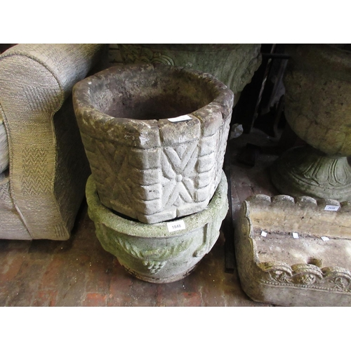 1848 - Pair of weathered cast concrete garden planters of tapering form with relief decoration together wit...