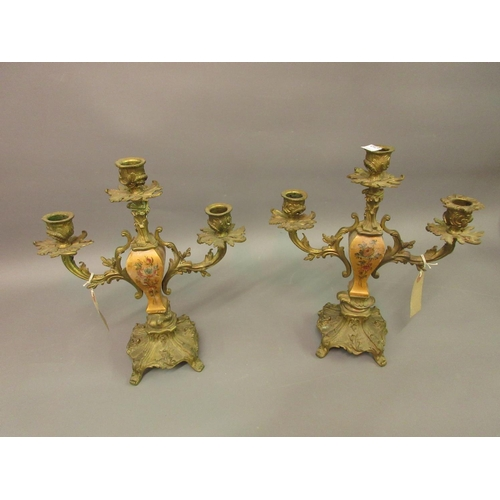 1856 - Pair of late 19th Century French ormolu and painted wood three light candelabra...