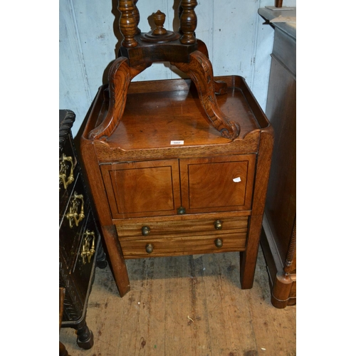 1857 - George III mahogany and black line inlaid tray top commode (damages and losses)...