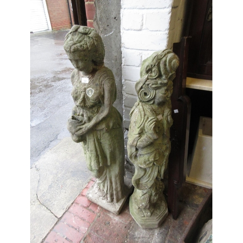 1861 - Cast concrete garden figure in the form of a girl holding a vase, together with a similar cast concr...