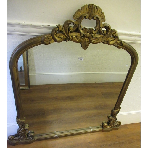 1864 - Giltwood dome top overmantel mirror with floral carved surmount...