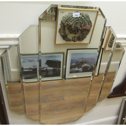 1865 - Large reproduction Art Deco style frameless wall mirror...