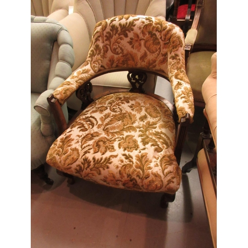 1866 - Edwardian walnut and floral upholstered tub shaped chair on cabriole front supports...