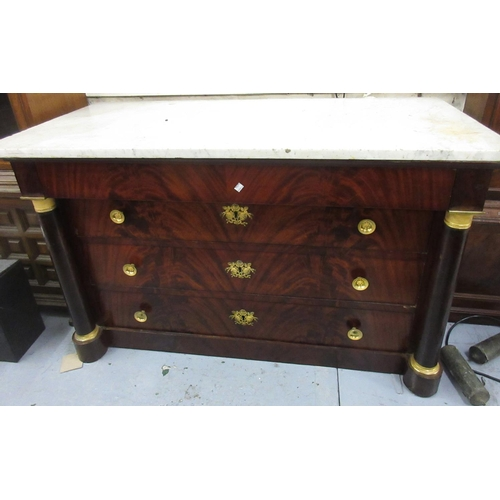 1890 - 19th Century French Empire mahogany ormolu mounted commode, the marble top above four drawers flanke...