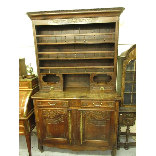 1892 - 18th Century French fruitwood dresser, the boarded shelf back with two drawers and spindle galleries...
