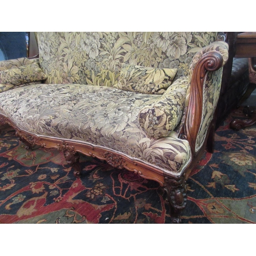 1895 - Good quality 19th Century French rosewood and upholstered sofa with a floral carved back rail, scrol...