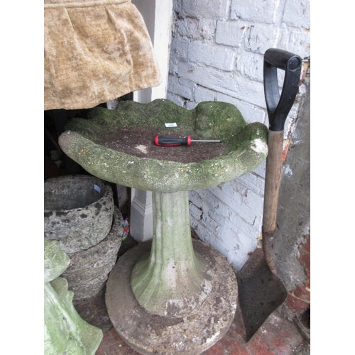 1898 - Weathered cast concrete garden bird bath with a shell form top...