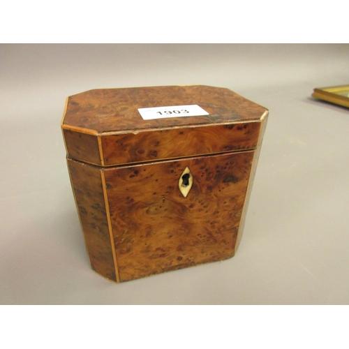 1903 - Small George III burr, yew and boxwood strung tea caddy of irregular octagonal design...