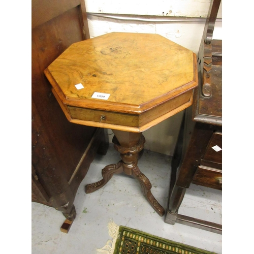 1909 - Victorian figured walnut octagonal trumpet form work table, the hinged cover enclosing a fitted inte...