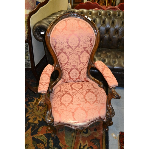 1910 - Good quality Victorian carved rosewood and pink damask upholstered open armchair on carved cabriole ...
