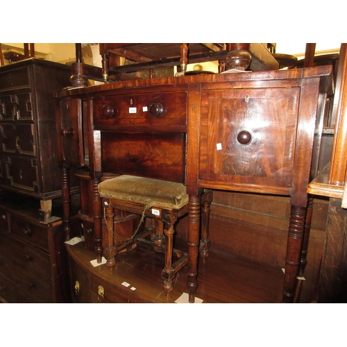 1915 - George III mahogany crossbanded and black line inlaid bow front sideboard, the figured top above two...