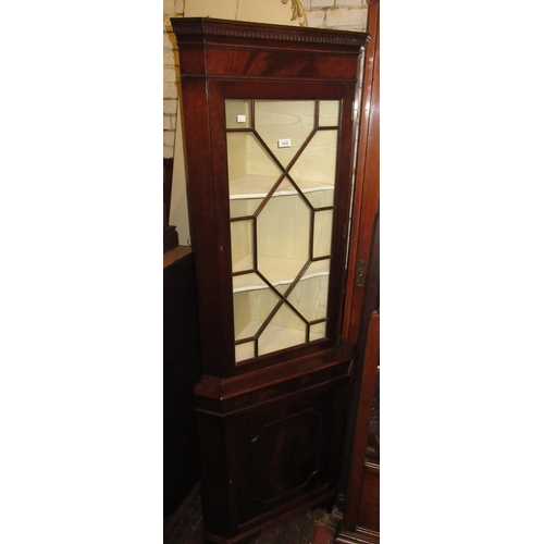 1918 - Mid 20th Century mahogany standing corner cabinet in George III style, with an astragal glazed door ...