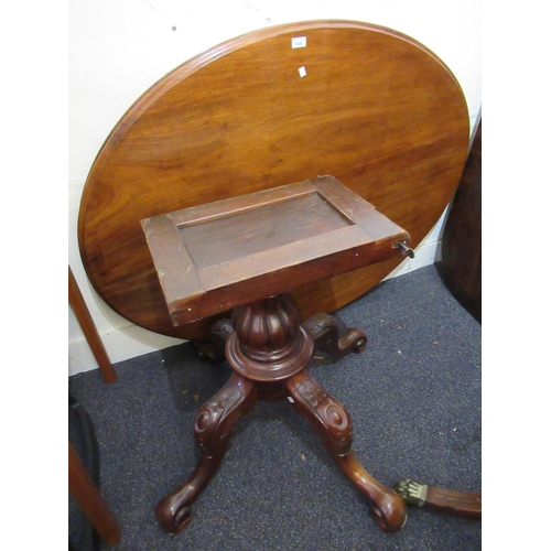 1926 - Victorian mahogany oval centre table with a fluted baluster column support and carved quadruped base...