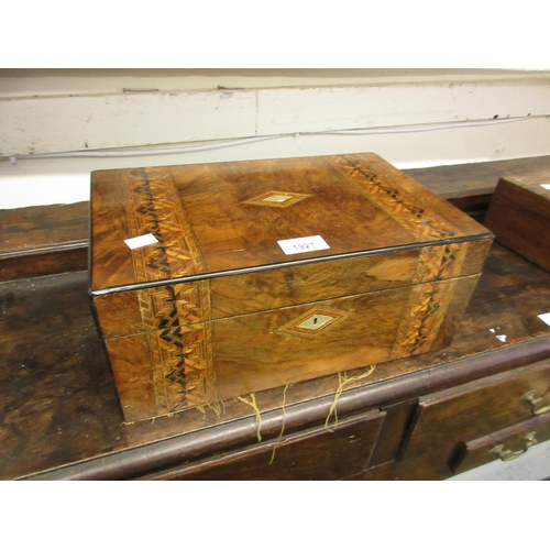 1927 - Victorian figured walnut and inlaid rectangular fold-over writing box...
