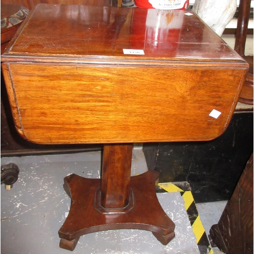 1930 - Victorian mahogany Pembroke type work table, the drop-leaf top above two drawers, column support and...