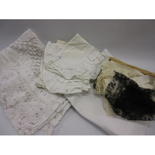 20 - Box containing a quantity of miscellaneous lace, crochet and other textiles...