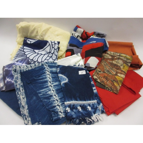 21 - Quantity of miscellaneous fabrics and fabric samples, African, Japanese and European...