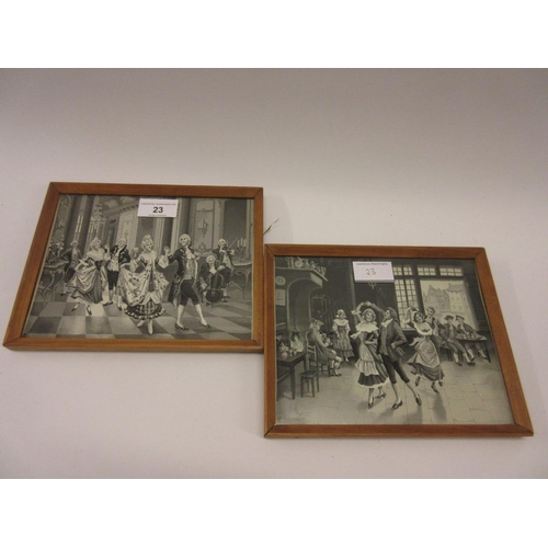 23 - Pair of silkwork pictures of 17th and 18th Century figures dancing, signed A. Perez, 6ins x 7.5ins...