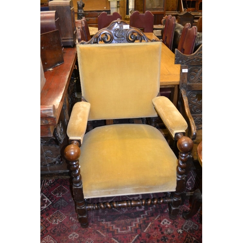 2390 - Victorian carved oak and upholstered elbow chair...