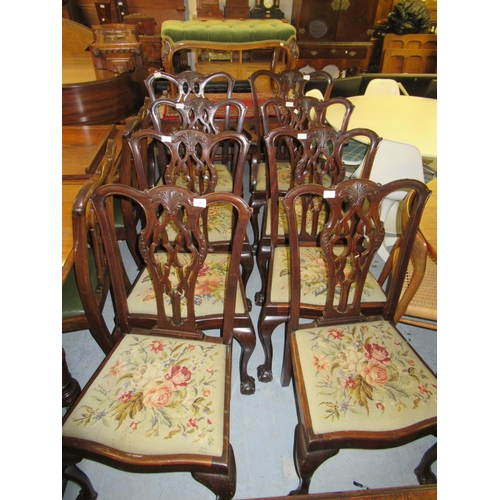 2391 - Eight (six plus two) early 20th Century mahogany dining chairs in Chippendale style, with pierced sp...