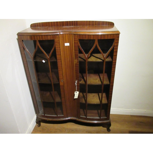 2392 - 20th Century mahogany double bow fronted bookcase having two bar glazed doors, raised on cabriole su...