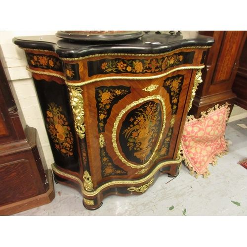 2394 - 19th Century French, kingwood, ebonised, marquetry inlaid and ormolu mounted serpentine shaped side ...