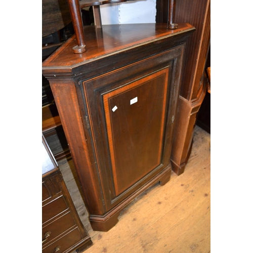 2396 - Edwardian crossbanded and inlaid mahogany floor standing corner cabinet with fielded panel door and ...