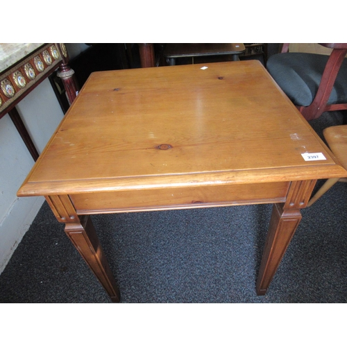 2397 - 20th Century square pine lamp table on square tapering supports...