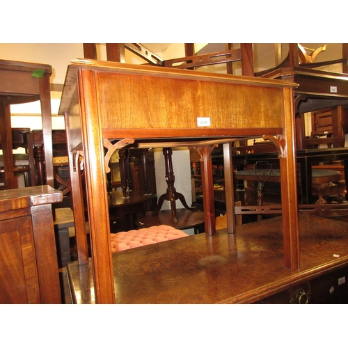 2398 - Reproduction mahogany crossbanded single drawer lamp table on square reeded supports...