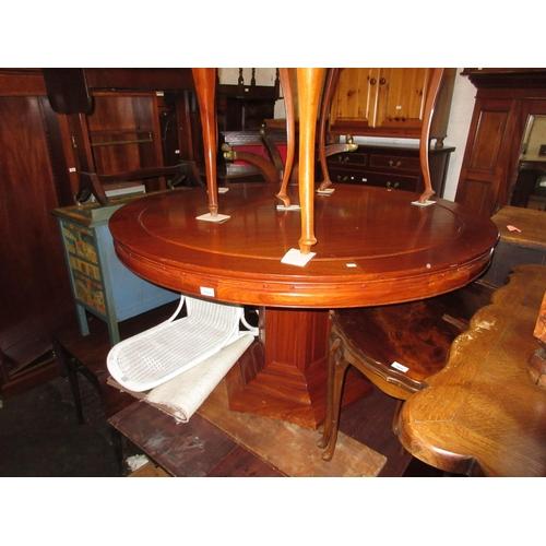 2404 - Mid to late 20th Century oriental hardwood circular pedestal dining table, 54ins diameter (damage to...
